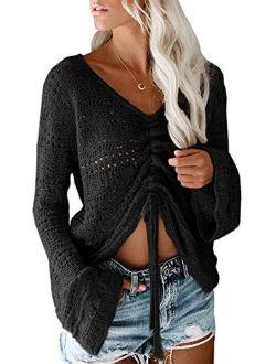 Saodimallsu Womens Boho Off Shoulder Sheer Crop Tops Bell Sleeve Flowy Oversized Crochet Ruched Pullover Sweaters