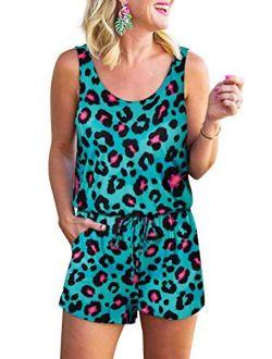 RAISEVERN Women Summer Romper Jumpsuit Sleeveless Printed Camisole Tank Top Short Pants Playsuit