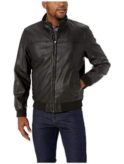 Men's Carson Faux Leather Classic Stand Collar Bomber Jacket (standard & Tall Sizes)