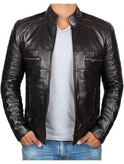 Leather Jackets for Men - Black Cafe Racer Mens Leather Jacket