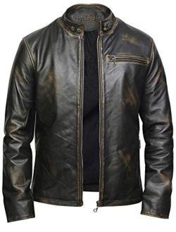 BRANDSLOCK Mens Leather Jacket   Vintage Style Slim Fit Cowhide Leather Jacket for Men