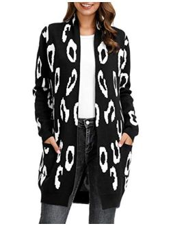 Essential Leopard Print Open Front Long Knitted Cardigan Sweater For Women