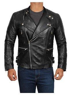Real Men's Leather Jacket - Moto Lambskin Black Leather Motorcycle Jacket Men