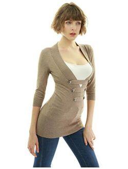 Women 3/4 Sleeve Button Detail Sweater