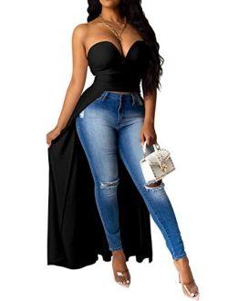 GOBLES Women's Sexy V-Neck Sleevess High Low Asymmetrical Irregular Hem Cocktail Club Dress Tops