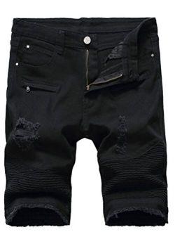 PASOK Men's Casual Denim Shorts Classic Fit Vintage Summer Cotton Jeans Shorts