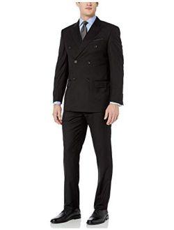 Adam Baker Men's Modern Fit Double Breasted Two-Piece Formal 100% Wool Suit
