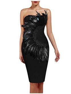 Women's Elegant Strapless Feather Fashion Bodycon Bandage Tube Dress