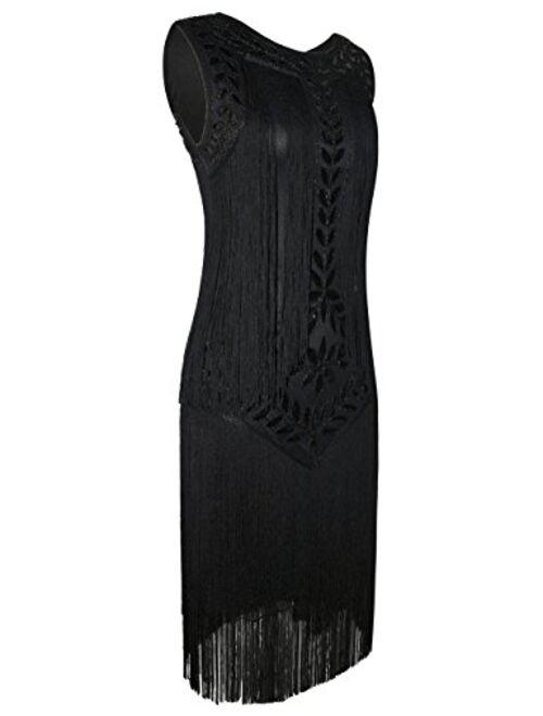 PrettyGuide Women's 1920s Dress Vintage Beaded Fringed Inspired Flapper Dress