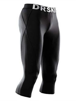 1, 2 Or 3 Pack Mens 3/4 Compression Pants Dry Cool Sports Baselayer Running Workout Active Tights Leggings Yoga
