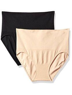Motherhood Maternity Women's Maternity 2 Pack Postpartum Seamless Support Panty, Black and Nude, Small/Medium