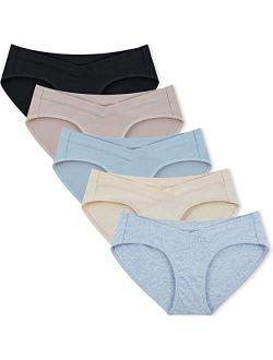 INNERSY Womens Maternity Underwear Under Bump Cotton Maternity Panties 5-Pack