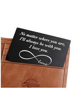 Engraved Wallet Inserts, Personalized Anniversary Birthday Valentine Gifts for Men Boyfriend Husband