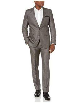 Unlisted Men's Slim Fit Suit, Silver Plaid, 48l