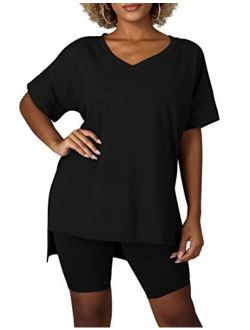BORIFLORS Women's Causal 2 Piece Outfits Jumpsuits V Neck Basic Tops Side Split T Shirt with Sexy Shorts Set