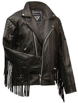 Areena Design Mens Fringed Diamond Leather Motorcycle Jacket