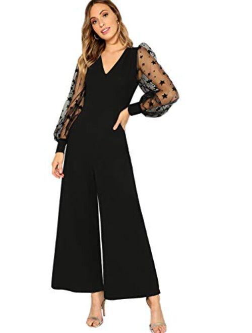 Romwe Women's Vintage Mesh Long Sleeve Galaxy Print Top Wide Leg Jumpsuit