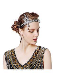 Metme Flapper Headband Bling Rhinestone Pearl Wedding Headpiece 1920s Gatsby Themes Party Accessoires