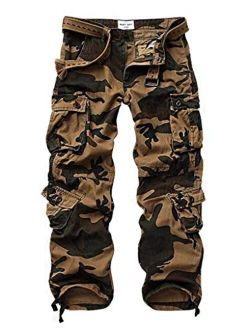 TRGPSG Men's Cotton Wild Cargo Pants Military Army Camouflage Casual Work Combat Hiking Trousers with 8 Pockets