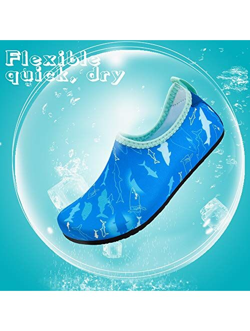 hiitave Kids Water Shoes Non-Slip Quick Dry Swim Barefoot Beach Aqua Pool Socks for Boys & Girls Toddler