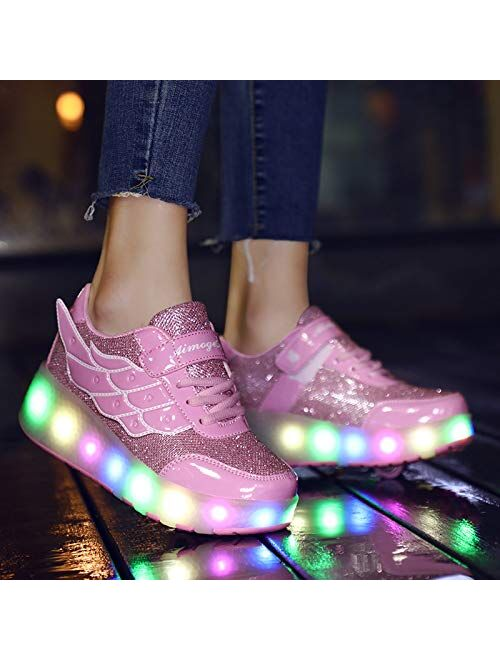 Nsasy Roller Shoes Girl Sneakers with Wheels Become Sport Sneaker with Led for Children Gift