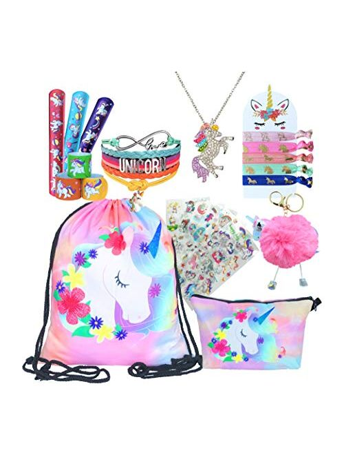 Unicorn Gifts for Girls - Unicorn Drawstring Backpack/Makeup Bag/Bracelet/Necklace/Hair Ties/Keychain/Sticker