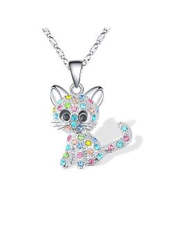 Lanqueen Kitty Cat Pendant Necklace Jewelry for Women Girls Kids, Cat Lover Gifts Daughter Loved Necklace 18+2.4 inch Chain