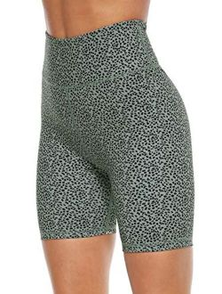 Persit High Waist Print Workout Yoga Shorts with Pockets,  Athletic Shorts