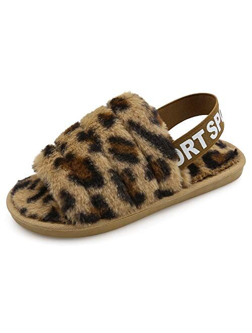 Women's Fluffy Fuzzy Slides Slipper Sandals Leopard Print Soft Warm Comfy Cozy Bedroom House Indoor Outdoor Slippers Sandals with Elastic Strap