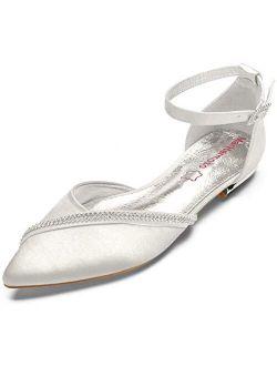MarHermoso Women's Satin Ankle Strap Cross Strap Side Diamante Pointed Pumps