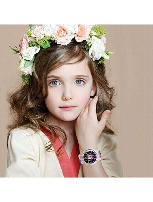 Zeiger New Children Kids Watch, Young Girls Teen Student Time Teacher Watch Resin Band (Black Small Floral)