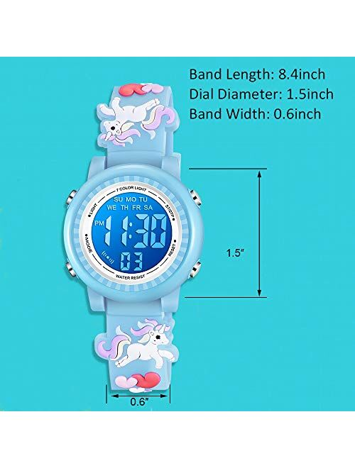 Venhoo Kids Unicorn Watches 3D Cartoon Waterproof 7 Color Lights Toddler Wrist Digital Watch with Alarm Stopwatch for 3-10 Year Girls Little Child