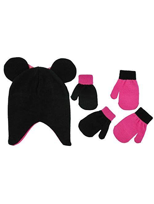 Disney Girls Minnie Mouse and Vampirina Winter Hat and 2 Pair Mitten or Glove Set (Toddler/Little Girl)
