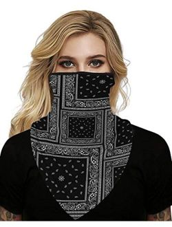 MHOM Face Scarf, Men and Women Lightweight Face Balaclava Neck Gaiters with Ear Loops for Dust Reusable Smoke Face Scarf