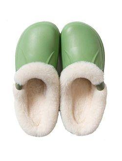 HopCon Men's Women's Lined Clogs Winter Fleece Slip on House Slipper Indoor Outdoor Waterproof Fur Lining Garden Mule Shoes