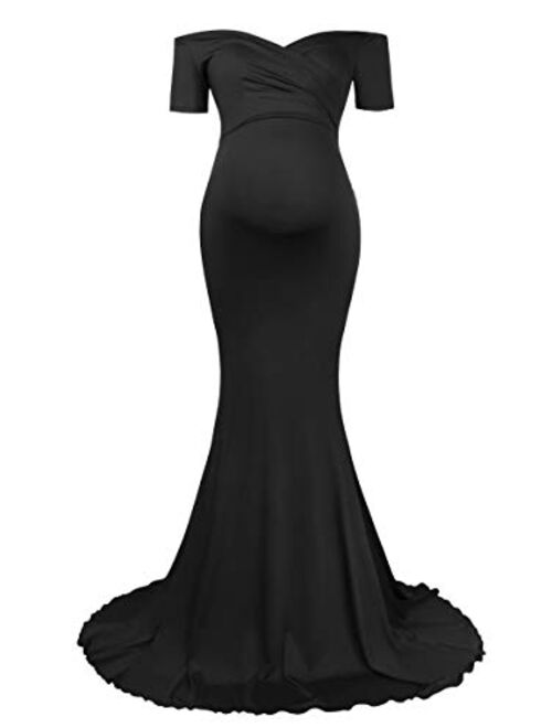 Molliya Maternity Long Dress Off Shoulder Elegant Fitted Gown Stretchy Maxi Photography Dress