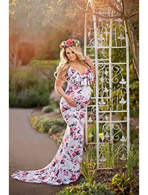 Saslax Maternity Elegant Fitted Maternity Gown Long Sleeve Slim Fit Maxi Photography Dress