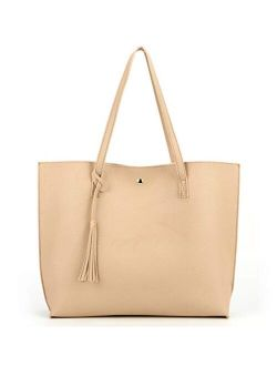 Nodykka Women Tote Bags Top Handle Satchel Handbags PU Faux Leather Tassel Shoulder Purse