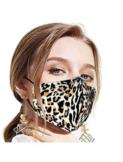 Breathable Leopard Printed Face Mask Black Outdoor Reusable Covering Gardening Adjustable Washable Cotton Fabric For Women And Men