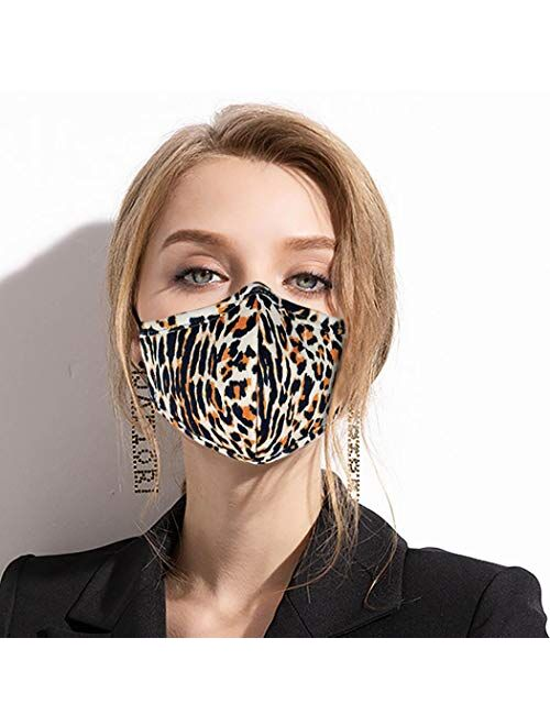 Woeoe Breathable Leopard Printed Face Mask Black Outdoor Reusable Covering Gardening Adjustable Washable Cotton Fabric for Women and Men