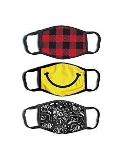 ABG Accessories Boys' 3-Pack Kid Fashionable Germ Protection, Reusable Fabric Face Mask Age 4-14, Smily Design, Boys-4-14