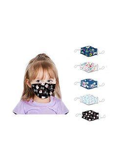 Reusable Face Bandanas, Washable Face Cotton 5 Pcs for Children