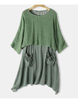 CELLABIE | Green Scoop Neck Top & Polka Dot Dress - Women