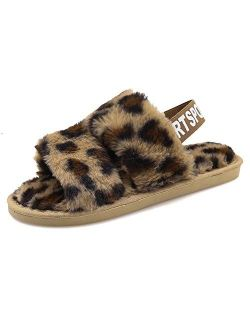 Women's House Fuzzy Slipper Fluffy Sandals Slides Leopard Print Soft Warm Comfy Cozy Bedroom Open Toe House Indoor Outdoor Slippers Sandals with Elastic Strap