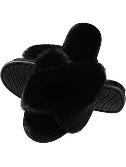 Slippers for Women, Open Toe Fuzzy Fluffy House Slippers Cozy Memory Foam Anti-Skid Plush Criss Cross Furry Slides Indoor Outdoor
