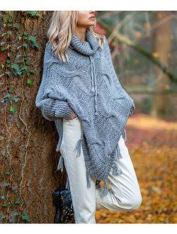 Fobya   Gray Tassel-Trim Sweater Poncho - Women