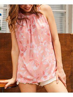 Luukse | Pink & Mauve Floral Halter Tunic - Women & Plus