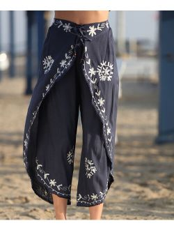 Ananda's Collection   Navy & White Floral Embroidered Palazzo Pants - Women