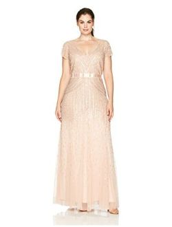 Women's Plus-size Long Cap-sleeve Embellished Gown