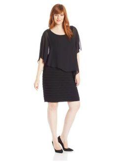 Women's Plus-size Chiffon-overlay Dress